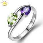 Hutang Wedding 925 <b>Sterling</b> <b>Silver</b> <b>Rings</b> For Women Genuine Peridot & Amethyst Stone Maxi Finger <b>Ring</b> Fine Jewelry Free Size