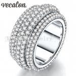 Vecalon 2016 Female <b>ring</b> 310pcs Full Around AAAAA Zircon Cz 925 <b>Sterling</b> <b>Silver</b> Engagement wedding Band <b>ring</b> for women