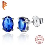 Luxury Oval Cut Blue Austrian Crystal <b>Earrings</b> Solid Real 925 <b>Sterling</b> <b>Silver</b> Stud <b>Earrings</b> for Women/Lovers Fashion Jewelry