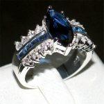 choucong Jewelry Fashion 925 <b>Sterling</b> <b>Silver</b> Marquise Cut Blue 5a Zircon Stone <b>rings</b> Wedding Bands <b>ring</b> for Women Size 5-11 gift