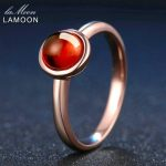 LAMOON 925 <b>Sterling</b> <b>Silver</b> Jewelry Romantic Classic Simple <b>Ring</b> 6mm 1.1ct Natural Rubin Red Garnet Wedding Bands <b>Rings</b> Anillos