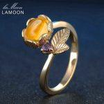 LAMOON Amber <b>Rings</b> Flower Plants 7mm 2ct Natural Oval Citrine 925 <b>Sterling</b> <b>Silver</b> Fine Jewelry Women Wedding <b>Ring</b> ChALkeR Gifts