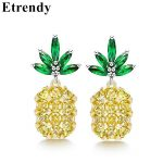 <b>Sterling</b> <b>Silver</b> Needle Crystal Pineapple <b>Earrings</b> For Women Fashion Jewelry Bijoux 2018 Hot Simple Gifts Summer Accessories