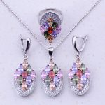Fantastic Multicolor Created Multigem 925 <b>Sterling</b> <b>Silver</b> Jewelry Sets For Women Fashion Jewelry Free Gift Box J0013