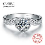 YANHUI Fine Jewelry 100% Solid 925 <b>Sterling</b> <b>Silver</b> <b>Ring</b> Inlay 1 Carat CZ Diamant Engagement Wedding <b>Rings</b> For Women JZR024