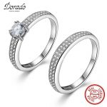 Dorado Classic 925 Real <b>Sterling</b> <b>Silver</b> Big Clear AAA Cubic Zirconia <b>Rings</b> for Lovers' Engagement Wedding Fine Jewelry