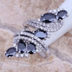 Black Cubic Zirconia White CZ 925 <b>Sterling</b> <b>Silver</b> <b>Ring</b> For Women Size 5 / 6 / 7 / 8 / 9 / 10 / 11 / 12 S0178