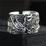 925 <b>sterling</b> Thai <b>silver</b> vintage open size adjustable <b>ring</b> men's jewelry carved dragon finger <b>ring</b>