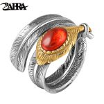ZABRA Solid 925 <b>Sterling</b> <b>Silver</b> Red Black Zircon Feather Love <b>Rings</b> For Men Women Vintage Retro Thai Craft Handmade Jewelry