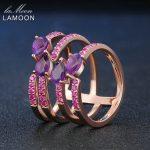 LAMOON <b>Rings</b> Natural Amethyst 925 <b>Sterling</b> <b>Silver</b> Cocktail Rose Purple Multilayer Hollow <b>Ring</b> Unique Trendy Fine Jewelry