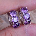 Unusual Purple Cubic Zirconia 925 <b>Sterling</b> <b>Silver</b> Huggie Hoop <b>Earrings</b> For Women S0190