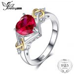 JewelryPalace Love Knot Heart 2.5ct Created Red Ruby Anniversary Promise <b>Ring</b> 925 <b>Sterling</b> <b>Silver</b> 18K Yellow Gold Women Fashion