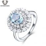 Engagement <b>Rings</b> 925 <b>Sterling</b> <b>Silver</b> 1.74ct Nature Oval Aquamarine <b>Rings</b> with Mosaic for Women Wedding