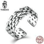 VOROCO Retro 925 <b>Sterling</b> <b>Silver</b> <b>Rings</b> Watch Chain Patterns Finger Adjustable Cuff <b>Ring</b> for Women & Man Fine Jewelry