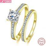 Hot Jrose Women Men Yellow Gold Cover 925 <b>Sterling</b> <b>Silver</b> <b>Rings</b> AAA White Cubic Zirconia Real 925 <b>Silver</b> Wedding <b>Ring</b> With Gift