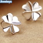 Jinwateryu 925 <b>sterling</b> <b>Silver</b> Stud <b>Earrings</b> Clover <b>earrings</b> for women pure <b>silver</b> fine Jewelry white colour <b>earrings</b> for girls
