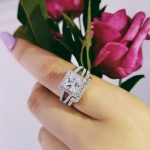 Moonso 925 <b>Sterling</b> <b>Silver</b> Princess Cut wedding <b>ring</b> set for bride Luxury women Set jewelry LR1952S