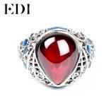 EDI 925 <b>Sterling</b> <b>Silver</b> Vintage <b>Rings</b> Retro Red Garnet Gems <b>Rings</b> Dripping Garnet Cloisonne Female Big <b>Ring</b> for Women
