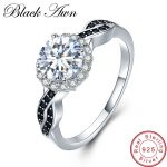 [BLACK AWN] Fine Jewelry 2.3Ct 100% Genuine 3g 925 <b>Sterling</b> <b>Silver</b> Row Black Spinel Stone Engagement <b>Rings</b> for Women Bague C036