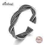 Shineland 2017 Unisex Twisted Leaves Open <b>Rings</b> 925 <b>Sterling</b> <b>Silver</b> Simple Spiral <b>Rings</b> for Women Fashion Ancient <b>Silver</b> Jewelry