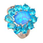 High quality blue <b>rings</b> real pure <b>silver</b> 925 <b>sterling</b> <b>silver</b> Created blue fire opal luxury wedding fine jewelry SR4