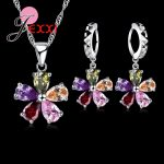 JEXXI Five Petaled Flowers Shinning Colorful CZ Crystal Pendant Jewelry Sets 925 <b>Sterling</b> Necklace + Dangle/Hoop <b>Earring</b> Sets