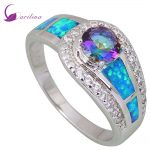 Rainbow Mystic Cubic Zirconia 925 <b>Sterling</b> <b>Silver</b> jewelry Filled Wedding Party Engagement Blue Opal <b>Ring</b> for women R408