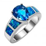 Blue Fire Opal With Blue Crystal Zircon 925 <b>Sterling</b> <b>Silver</b> <b>Ring</b> Beautiful Jewelry Size 6 7 8 9 10 R1382