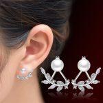 Hot Sale Promotion 2017 New Pearl Simple Leaf <b>Earring</b> 925 <b>Sterling</b> <b>Silver</b> Stud <b>Earrings</b> for Women Jewelry Gift Drop Shipping