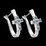 Hot Sale Genuine Luxury Cubic Zirconia <b>Earrings</b> 925 <b>Sterling</b> <b>Silver</b> Hoop <b>Earring</b> Cross Fashion Perfect Jewelry
