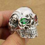 LINSION 925 <b>Sterling</b> <b>Silver</b> Titan Skull Green Red CZ Stone Eyes Mens Biker Punk <b>Ring</b> <b>sterling</b>–<b>silver</b>-jewelry 8V705 US Size 7~15