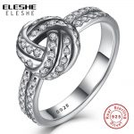 ELESHE Authentic Real 925 <b>Sterling</b> <b>Silver</b> CZ Crystal LOVE KNOT BOW Weave Finger <b>Ring</b> For Women Engagement <b>Silver</b> <b>Rings</b> Jewelry