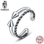 VOROCO Vintage Genuine 925 <b>Sterling</b> <b>Silver</b> Double Sharp Twist Open Finger <b>Rings</b> for Women Simple Fine Jewelry VSR070