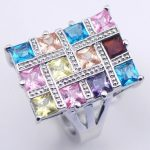 Morganite Blue Garnet Pink Crystal Zircon Women 925 <b>Sterling</b> <b>Silver</b> <b>Ring</b> F539 6 7 8 9 10 11