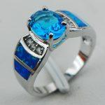 Blue Crystal Zircon Blue Opal 925 <b>Sterling</b> <b>Silver</b> <b>Ring</b> Size 6 7 8 9 10 R1250