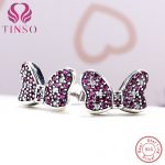 TINSO Women's Fashion Cubic Zirconia Jewelry Authentic 925 <b>Sterling</b> <b>Silver</b> Cute Bowknot Stud <b>Earrings</b> Lady Earings Accessory