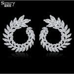 SIMIRY S925 <b>Sterling</b> <b>Silver</b> Pin Bling CZ Olive Branch Big Stud <b>Earring</b> for Women Wedding Party <b>Earrings</b> Fashion Jewelry