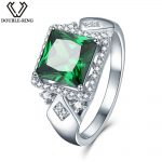 3.72ct Square Created Green Emerald 925 <b>Sterling</b> <b>Silver</b> <b>Rings</b> for Women Engagement Wedding Anniversary