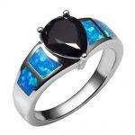 Blue Fire Opal With Black onyx 925 <b>Sterling</b> <b>Silver</b> <b>Ring</b> Beautiful Jewelry Size 6 7 8 9 10 R1387