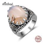 Shineland 100% 925 <b>Sterling</b> <b>Silver</b> Vintage Elegant Engagement Finger <b>Ring</b> for Women Fashion Wedding Luxury Thai <b>Silver</b> Jewelry