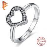 BELAWANG Classic Jewelry 925 <b>Sterling</b> <b>Silver</b> CZ Austrian Crystal Love Heart <b>Rings</b> for Women #6 7 8 Size Authentic Jewelry
