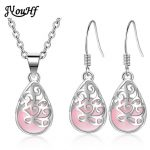 JYouHF 925 <b>Sterling</b> <b>Silver</b> Jewelry Sets Pink White Moon Stone Necklace <b>Earrings</b> for Women Classic Opal Jewelry Set Party Gift