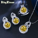 BlingZircons 9 Colors Trendy 925 <b>Sterling</b> <b>Silver</b> Jewelry Yellow Round CZ Crystal Earring Necklace <b>Ring</b> Sets For Women JS011