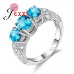 JEXXI Fashion 3 Round Cubic Zirconia Finger <b>Ring</b> 925 <b>Sterling</b> <b>Silver</b> for Women Engagement & Wedding Jewelry