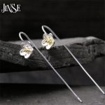 JINSE 925 <b>Sterling</b> <b>Silver</b> 8.7mm Plum Flower Long Drop <b>Earrings</b> For Women Vintage Lady Prevent Allergy <b>Sterling</b>–<b>Silver</b>-Jewelry