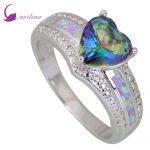 Wedding Fashion <b>rings</b> for women Blue Rainbow Mystic Cubic Zirconia Opal 925 <b>Sterling</b> <b>Silver</b> Overlay jewelry size 5 6 7 8 9 R407
