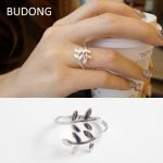 BUDONG Real 925 <b>Sterling</b> <b>Silver</b> <b>Ring</b> for Women Tree Leaf Design Mid Finger <b>Ring</b> Open Cuff Resizable Fine Jewelry Wholesale LH462