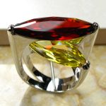 Huge Garnet Yellow Crystal Zircon 925 <b>Sterling</b> <b>Silver</b> <b>Ring</b> Size 6 7 8 9 10 R95