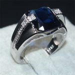choucong Jewelry Men's 925 <b>Sterling</b> <b>Silver</b> big 6CT square Blue 5a Zircon Stone Engagement Wedding Bands <b>ring</b> for Men Size 8-13