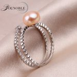 Real Natural Pearl <b>Ring</b> for women,Freshwater Pearl Wedding <b>Ring</b> 925 <b>Sterling</b> <b>Silver</b> Jewelry wife birthday gifts white pink